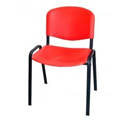 Krzesło konferencyjne ISO plastikowe czerwone