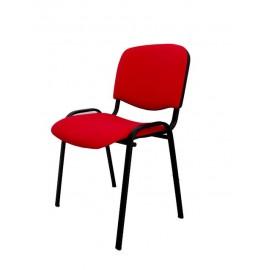 Krzesło konferencyjne ISO materiałowe czerwone