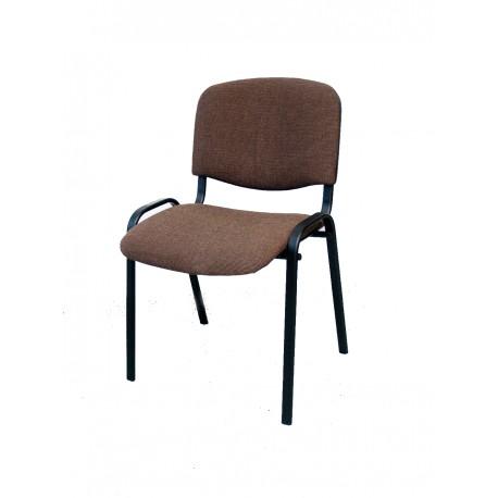 Krzesło konferencyjne ISO materiałowe brązowo-kremowe splot
